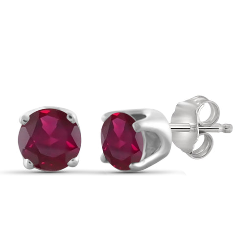 JewelonFire 1.35 Carat T.G.W. Genuine Ruby Sterling Silver Stud Earrings - Assorted Colors