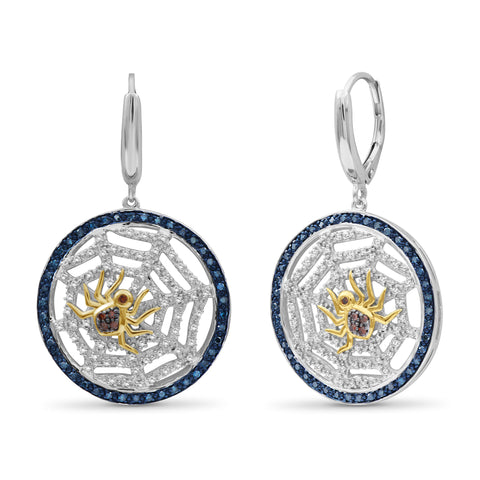 JewelonFire 1/2 Ctw Multi Color Diamond Two-Tone Sterling Silver Spider with Net Dangle Earrings