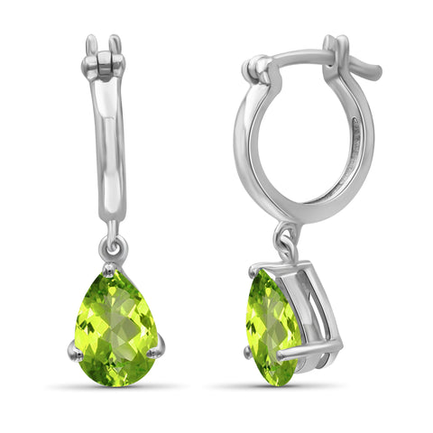 JewelonFire 1 3/4 Carat T.G.W. Peridot Sterling Silver Dangle Earrings - Assorted Colors