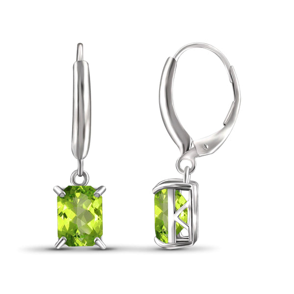 JewelonFire 3 1/3 Carat T.G.W. Peridot Sterling Silver Dangle Earrings - Assorted Colors