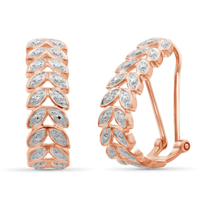 JewelersClub Accent White Diamond Rose Gold Over Silver Leaf Hoop Earrings
