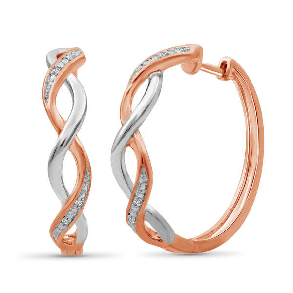 JewelonFire 1/20 Carat T.W. White Diamond Two Tone Silver Infinity Hoop Earrings