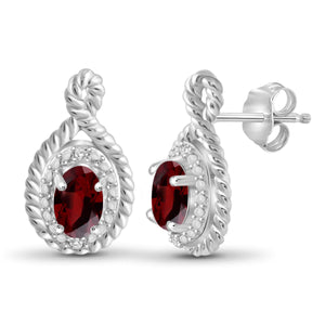 JewelonFire 1 1/5 Carat T.G.W. Garnet and White Diamond Accent Sterling Silver Earrings - Assorted Colors