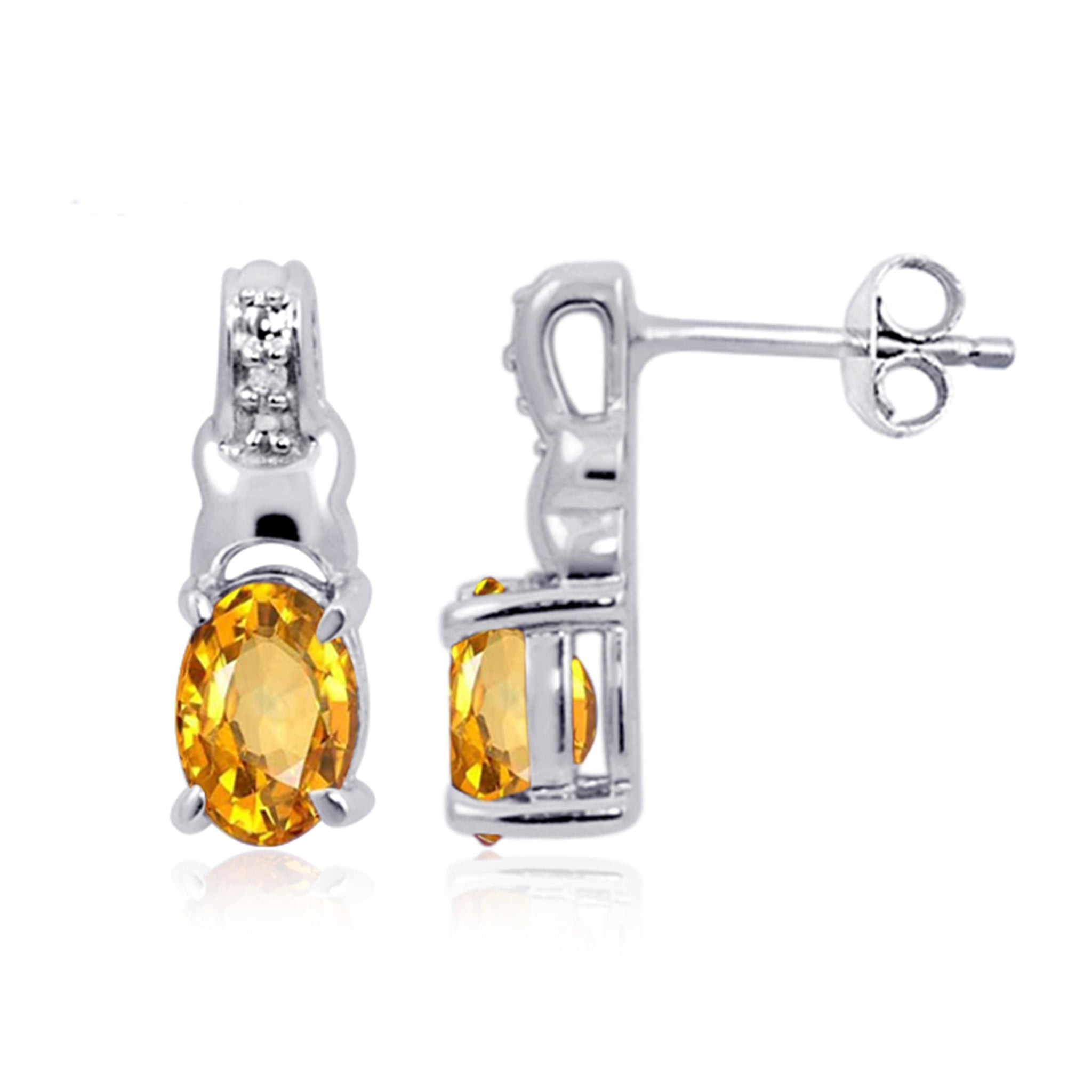 JewelonFire 1.00 Carat T.G.W. Citrine And White Diamond Accent Sterling Silver Stud Earrings - Assorted Colors