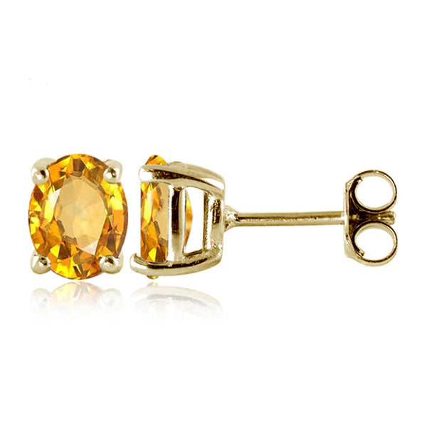 JewelonFire 2 1/4 Carat T.G.W. Citrine Sterling Silver Stud Earrings - Assorted Colors