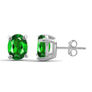 JewelonFire 2.40 Carat T.G.W. Chrome Diopside Sterling Silver Stud Earrings - Assorted Colors