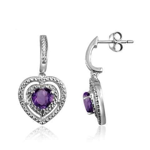 JewelonFire 3/4 Carat T.W. Amethyst And White Diamond Accent Sterling Silver Heart Earrings