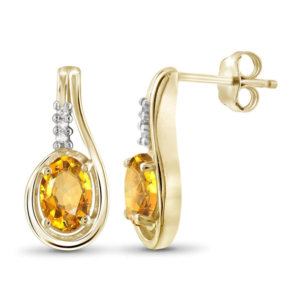 JewelersClub 1.00 Carat T.G.W. Citrine And White Diamond Accent Sterling Silver Earrings - Assorted Colors