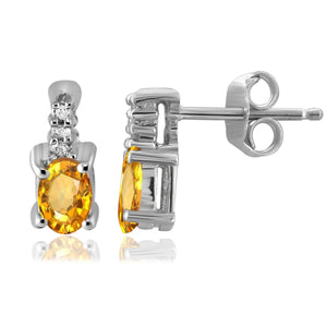 JewelonFire 1/2 Carat T.G.W. Citrine and White Diamond Accent Sterling Silver Earrings - Assorted Colors
