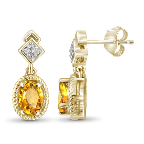JewelonFire 1.00 Carat T.G.W. Citrine and White Diamond Accent Sterling Silver Earrings - Assorted Colors
