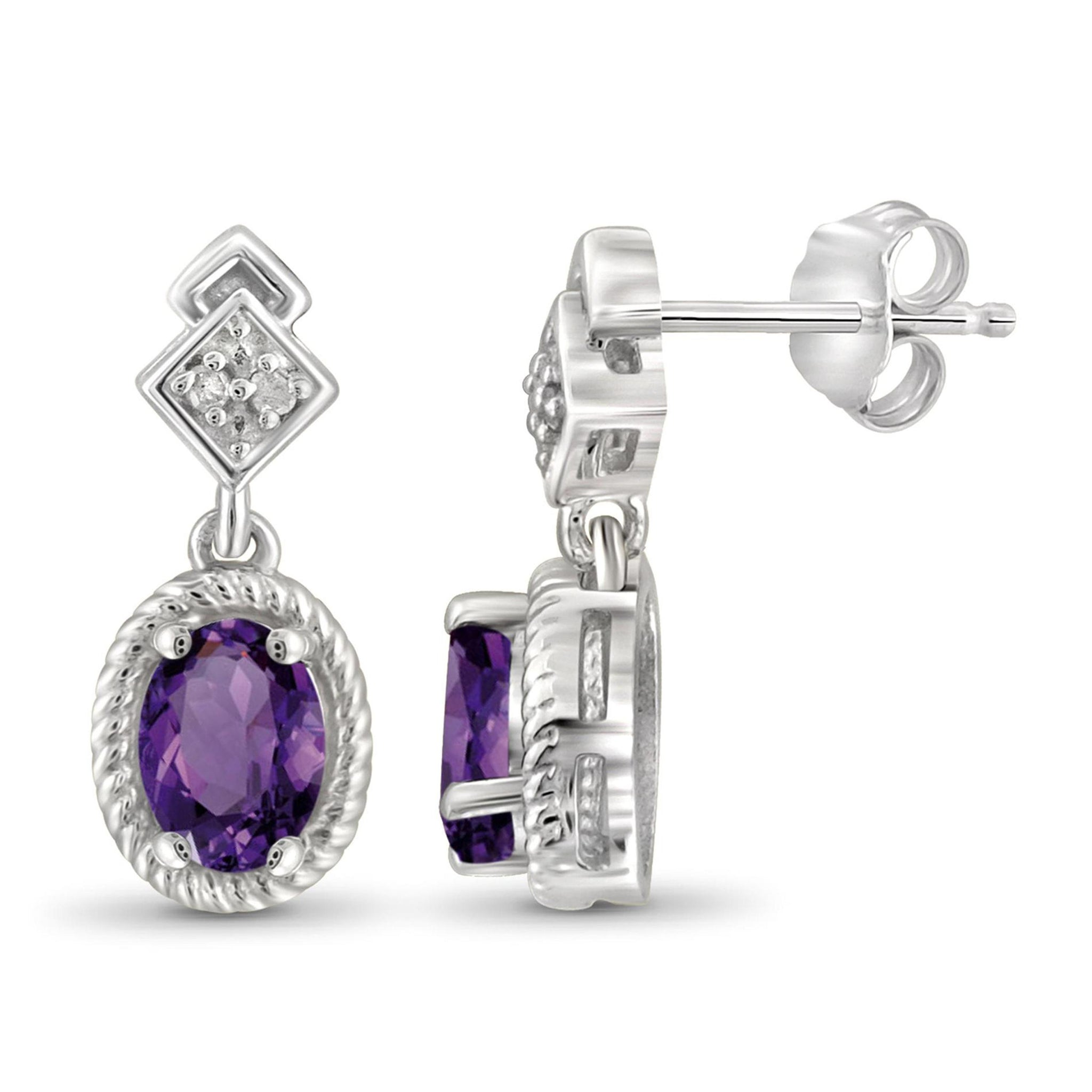 JewelonFire 3/4 Carat T.G.W. Amethyst and White Diamond Accent Sterling Silver Earrings - Assorted Colors