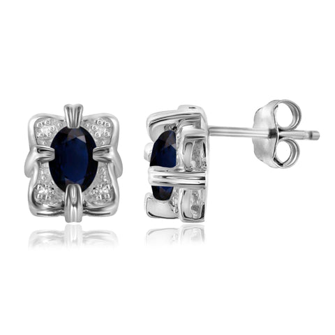 JewelersClub 1.30 Carat T.G.W. Sapphire and White Diamond Accent Sterling Silver Earrings - Assorted Colors