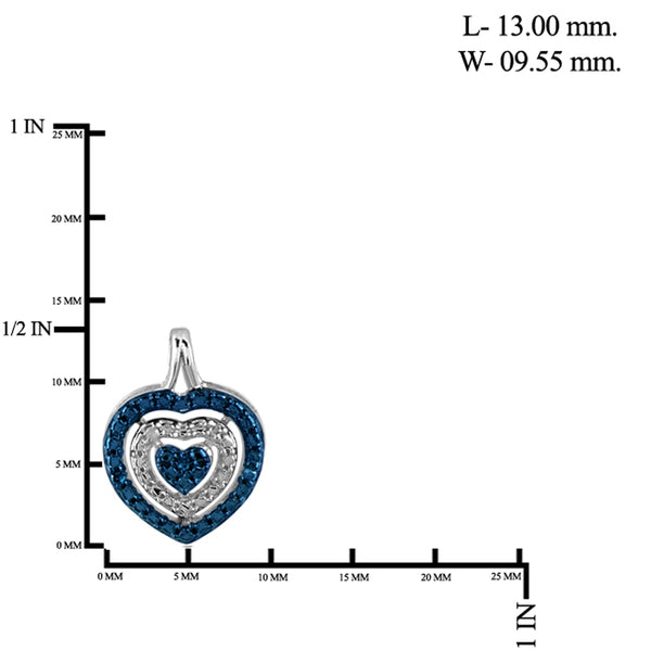 JewelonFire 1/10 Carat T.W. Blue And White Diamond Sterling Silver 3 Piece Heart Jewelry Set