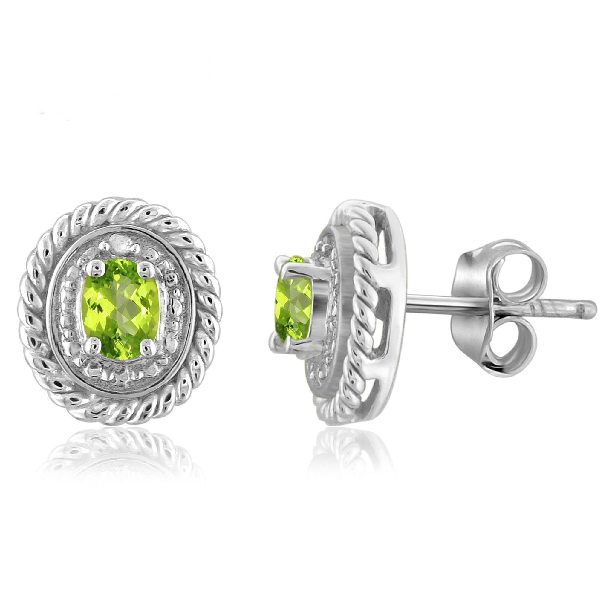 JewelonFire 1/3 Carat T.G.W. Peridot and White Diamond Accent Sterling Silver Stud Earrings - Assorted Colors