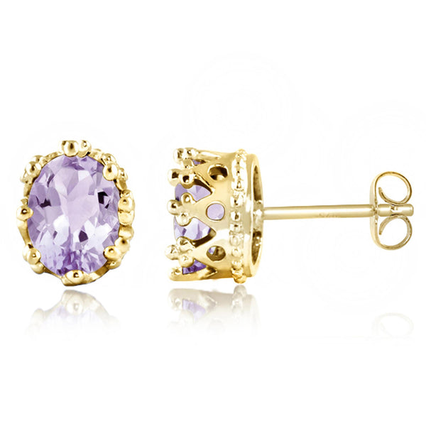 JewelonFire 2 1/5 Carat T.G.W. Pink Amethyst Sterling Silver Stud Earrings - Assorted Colors