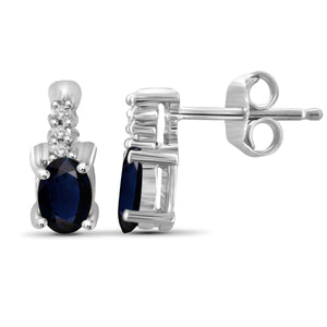 JewelersClub 0.60 Carat T.G.W. Sapphire and White Diamond Accent Sterling Silver Earrings