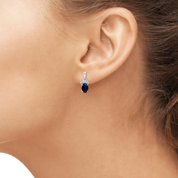 JewelonFire 1.30 Carat T.G.W. Sapphire and White Diamond Accent Sterling Silver Earrings