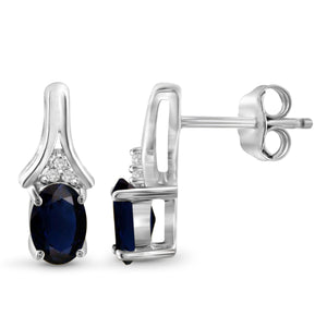 JewelersClub 1.30 Carat T.G.W. Sapphire and White Diamond Accent Sterling Silver Earrings