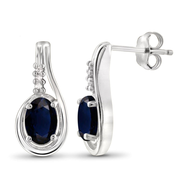 JewelonFire 1.30 Carat T.G.W. Sapphire and White Diamond Accent Sterling Silver Earrings - Assorted Colors