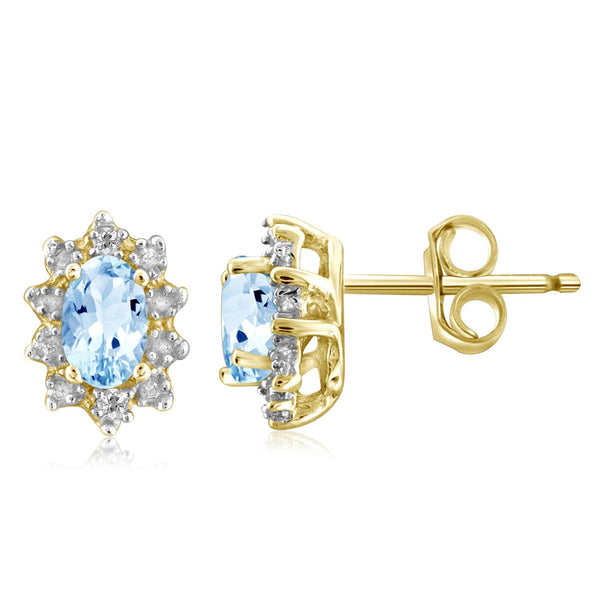 JewelonFire 1/2 Carat T.G.W. Sky Blue Topaz and White Diamond Accent Sterling Silver Earrings - Assorted Colors