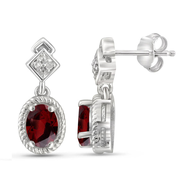 JewelonFire 1 1/5 Carat T.G.W. Garnet and White Diamond Accent Sterling Silver Stud Earrings - Assorted Colors