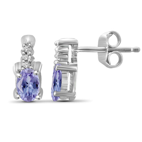 JewelonFire 0.45 Carat T.G.W. Tanzanite and White Diamond Accent Sterling Silver Earrings