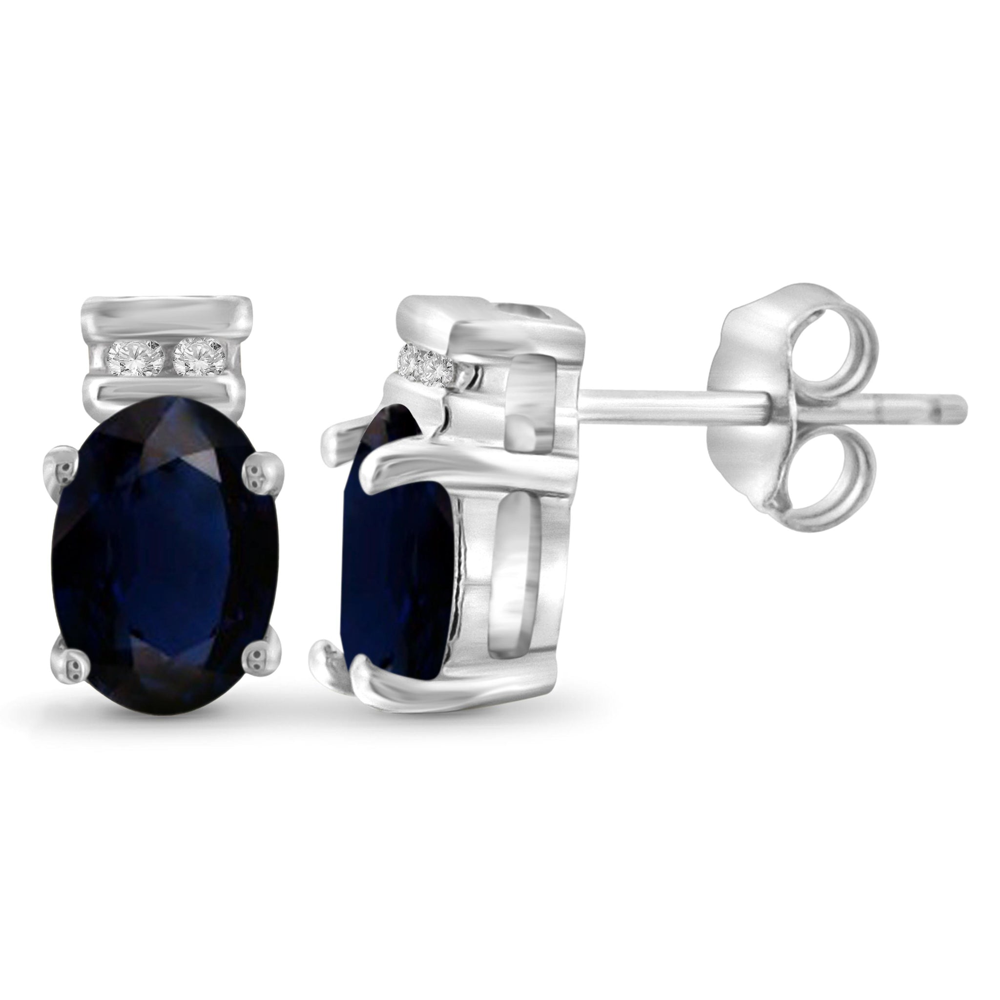 JewelonFire 1.30 Carat T.G.W. Sapphire and 1/20 ctw White Diamond Sterling Silver Earrings - Assorted Colors