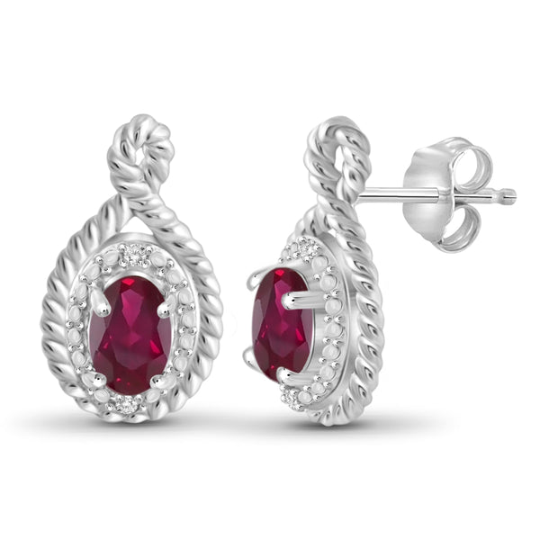JewelonFire 0.90 Carat T.G.W. Ruby and White Diamond Accent Sterling Silver Earrings - Assorted Colors