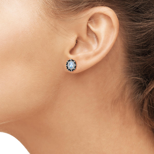 JewelonFire 1 1/5 Carat T.G.W. Sky Blue Topaz And Black & White Diamond Accent Sterling Silver Earrings - Assorted Colors