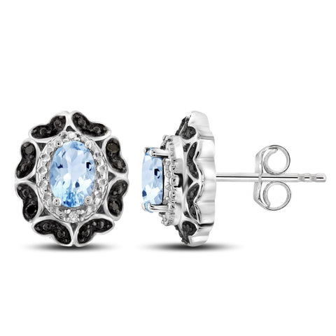 JewelersClub 1 1/5 Carat T.G.W. Sky Blue Topaz And Black & White Diamond Accent Sterling Silver Earrings - Assorted Colors