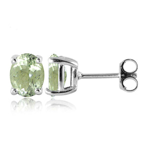 JewelonFire 2 1/2 Carat T.G.W. Green Amethyst Sterling Silver Stud Earrings - Assorted Colors