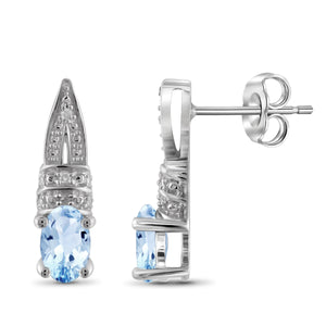 JewelersClub 1 1/5 Carat T.G.W. Sky Blue Topaz And White Diamond Accent Sterling Silver Earrings - Assorted Colors