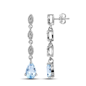 JewelersClub 2.00 Carat T.G.W. Sky Blue Topaz And White Diamond Accent Sterling Silver Earrings - Assorted Colors