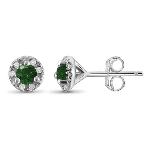 JewelonFire 1/4 Carat T.W. Green And White Diamond Sterling Silver Halo Earrings