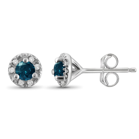 JewelonFire 1/4 Carat T.W. Blue And White Diamond Sterling Silver Halo Earrings