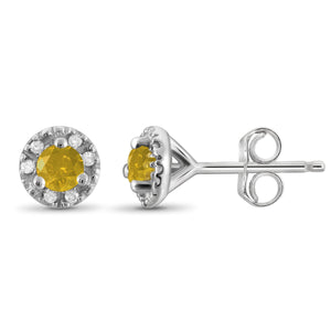 JewelonFire 1/4 Carat T.W. Yellow And White Diamond Sterling Silver Halo Earrings