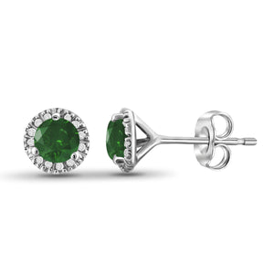 JewelonFire 1/2 Carat T.W. Green And White Diamond Sterling Silver Halo Earrings