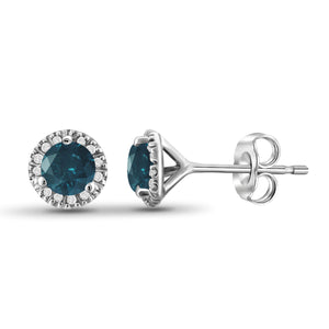 JewelonFire 1/2 Carat T.W. Blue And White Diamond Sterling Silver Halo Earrings