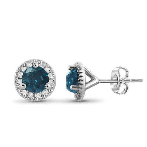 JewelonFire 1.00 Carat T.W. Blue And White Diamond Sterling Silver Halo Earrings