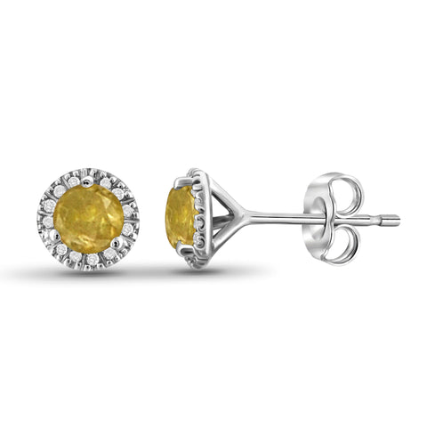 JewelonFire 1/2 Carat T.W. Yellow And White Diamond Sterling Silver Halo Earrings