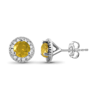 JewelonFire 1.00 Carat T.W. Yellow And White Diamond Sterling Silver Halo Earrings