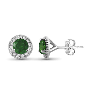 JewelonFire 1.00 Carat T.W. Green And White Diamond Sterling Silver Halo Earrings
