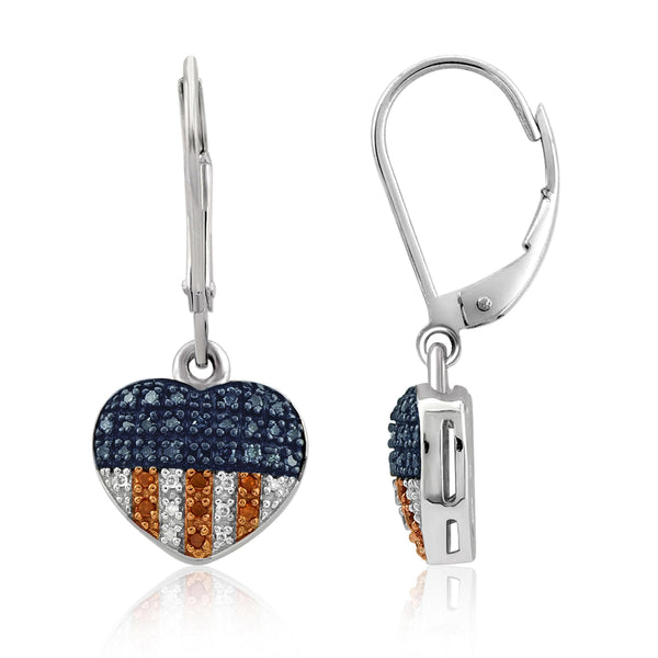 JewelonFire 1/4 Carat T.W. Multi Color Diamond Sterling Silver American Flag Heart Earrings