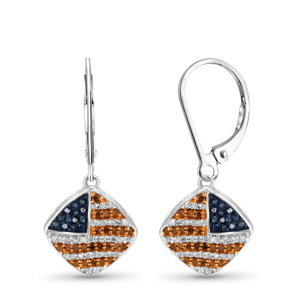 JewelonFire 1/3 Carat T.W. Multi Color Diamond Sterling Silver American Flag Earrings