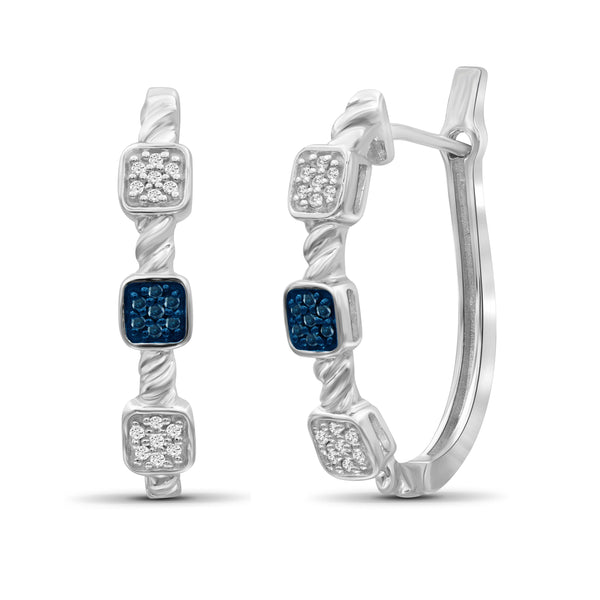 JewelonFire 1/7 Carat T.W. Blue And White Diamond Sterling Silver Earrings