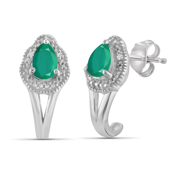 JewelersClub 1.20 Carat T.G.W. Emerald And Accent White Diamond Sterling Silver J Hoop Earrings - Assorted Colors