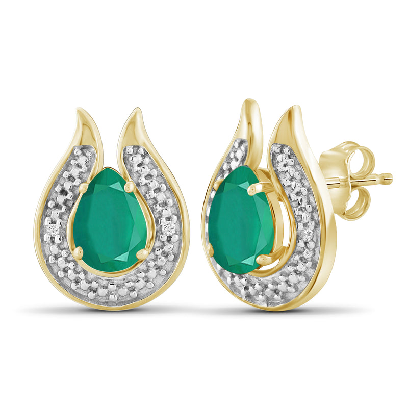 JewelersClub 1.20 Carat T.G.W. Genuine Emerald And Accent White Diamond Sterling Silver Stud Earrings - Assorted Colors