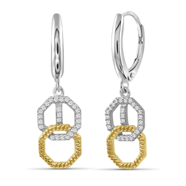 JewelonFire 1/7 Carat T.W. White Diamond Two Tone Silver Octagon Earrings