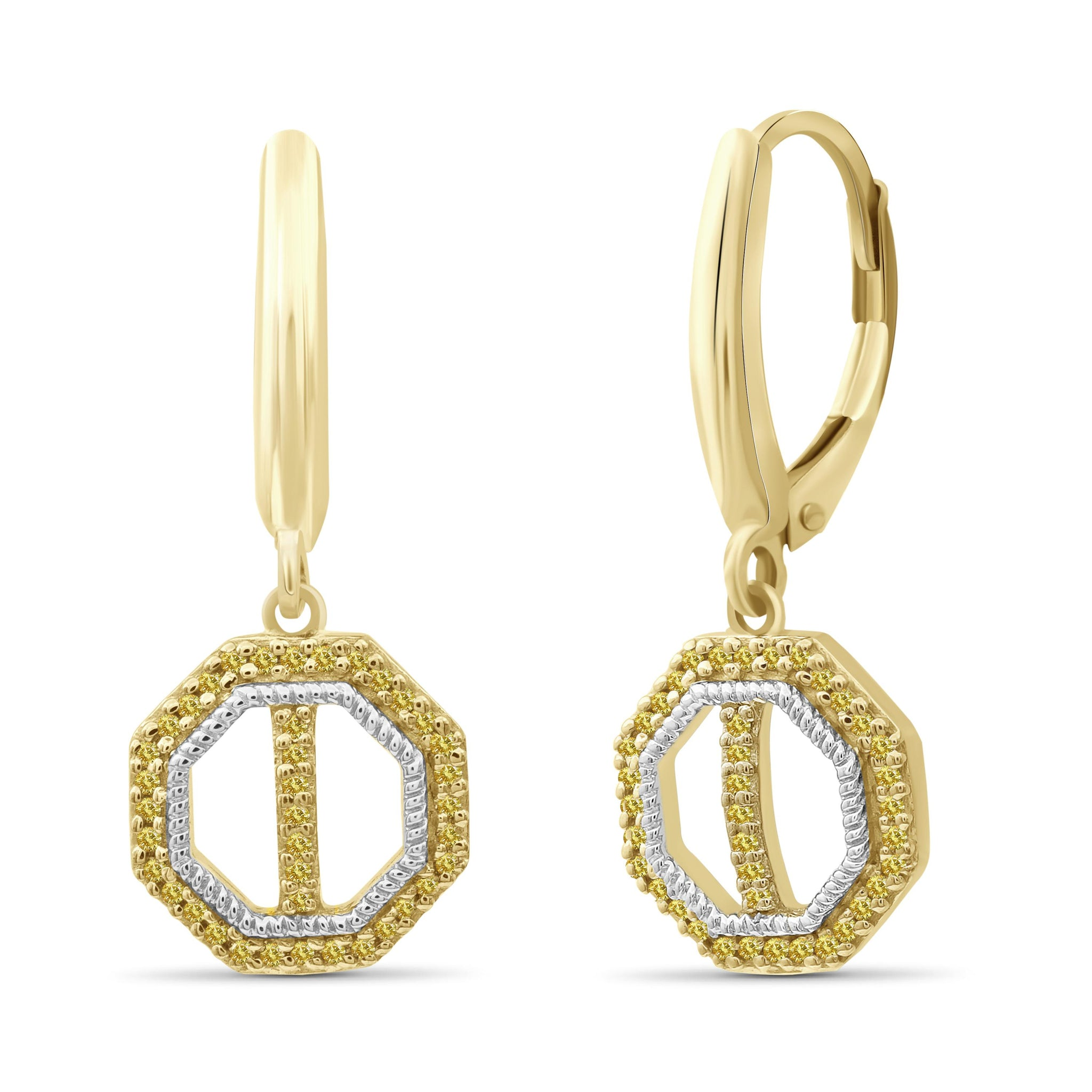 JewelonFire 1/7 Carat T.W. Yellow Diamond Two Tone Silver Octagon Earrings