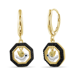 JewlersClub 1/7 Carat T.W. Multicolor Diamond Two Tone Silver Flying Bird Octagon Earrings